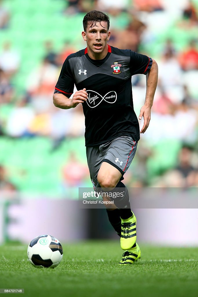 PierreEmile Hoejbjerg of Southampton runs with the ball during the friendly match between FC Groningen an FC Southampton at Euroborg Stadium on July...