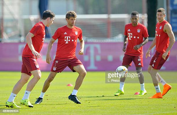 PierreEmile Hojberg Thomas Mueller Julian Green and Robert Lewandowski in action during a training session of FC Bayern Muenchen at training ground...