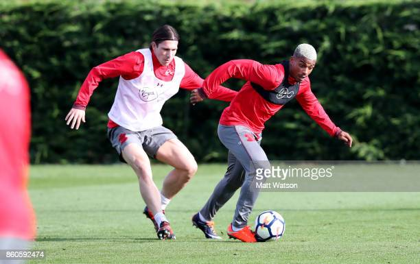 PierreEmile Hojbjerg and Mario Lemina during a Southampton FC training session at the Staplewood Campus on October 12 2017 in Southampton England