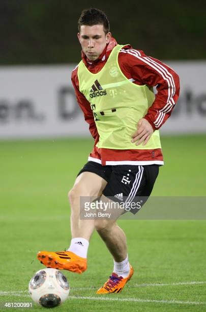 PierreEmile Hojbjerg in action during day 3 of Bayern Muenchen Training Camp held at the Aspire Academy for Sports Excellence on January 7 2013 in...