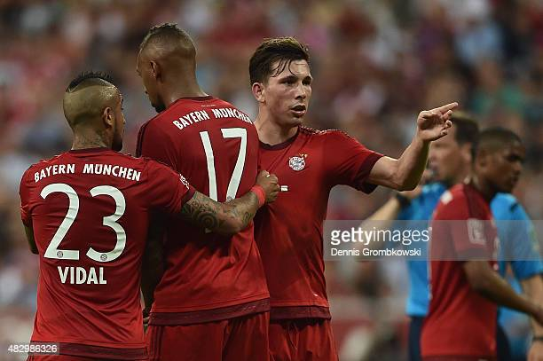 PierreEmile Hojbjerg of FC Bayern Muenchen reacts during the Audi Cup 2015 match between FC Bayern Muenchen and AC Milan at Allianz Arena on August 4...