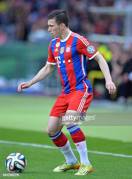 PierreEmile Hojbjerg of Muenchen in action during the DFB Pokal Final between Borussia Dortmund and Bayern Muenchen at Olympiastadion on May 17 2014...