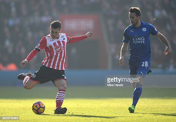 PierreEmile Hojbjerg of Southampton and Christian Fuchs of Leicester City compete for the ball during the Premier League match between Southampton...
