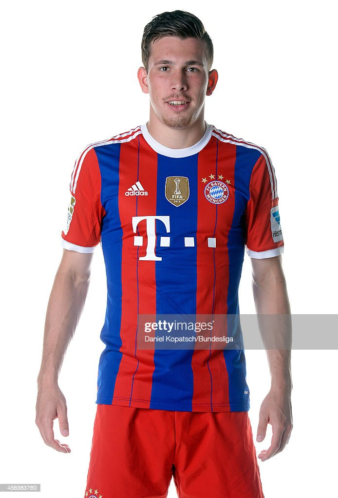 Pierre-Emile Hojbjerg poses during the FC Bayern Muenchen Team Presentation for DFL on August 9, 2014 in Munich, Germany.