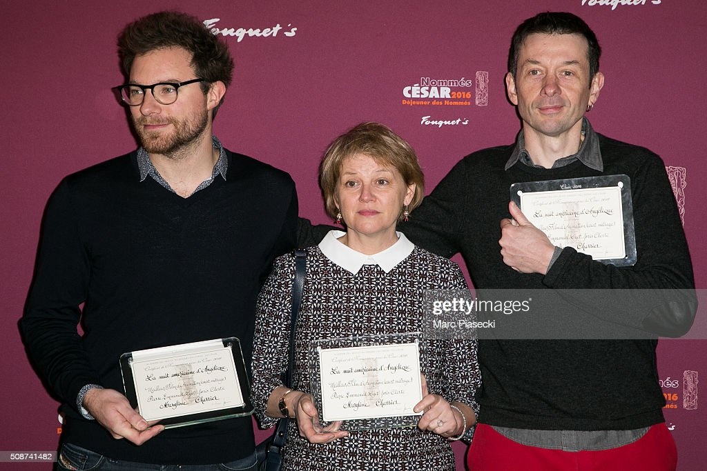 Pierre-Emmanuel Lyet, Maryline Charrier and Joris Clerte attend the 'Cesar 2016- Nominee luncheon' at Le Fouquet's on February 6, 2016 in Paris, France.