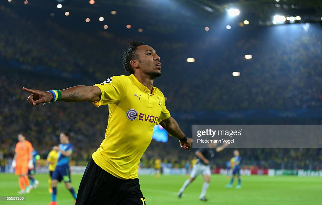 PierreEmmerick Aubameyang of Borussia Dortmund celebrates scoring the second goal during the UEFA Champions League Group D match between Borussia...