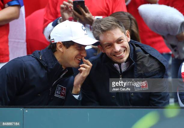 PierreHughes Herbert and Nicolas Mahut of France during day three of the Davis Cup World Group tie between France and Serbia at Stade Pierre Mauroy...