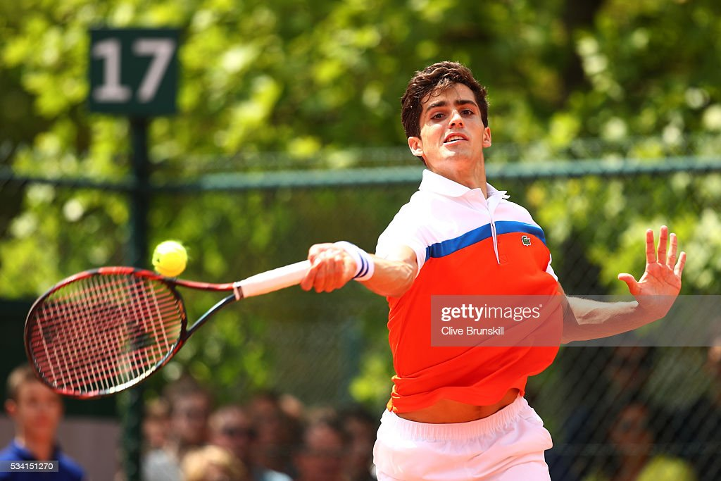 Pierre-Hughes Herbert of France plays a forehand during the Men's Singles first round match against Alexander Zverev of Germany on day four of the 2016 French Open at Roland Garros on May 25, 2016 in Paris, France.