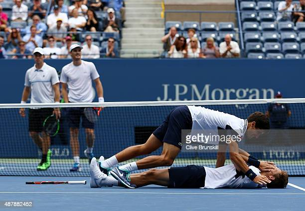 PierreHugues Herbert and Nicolas Mahut of France celebrate after defeating Jamie Murray of Great Britain and John Peers of Australia during their...