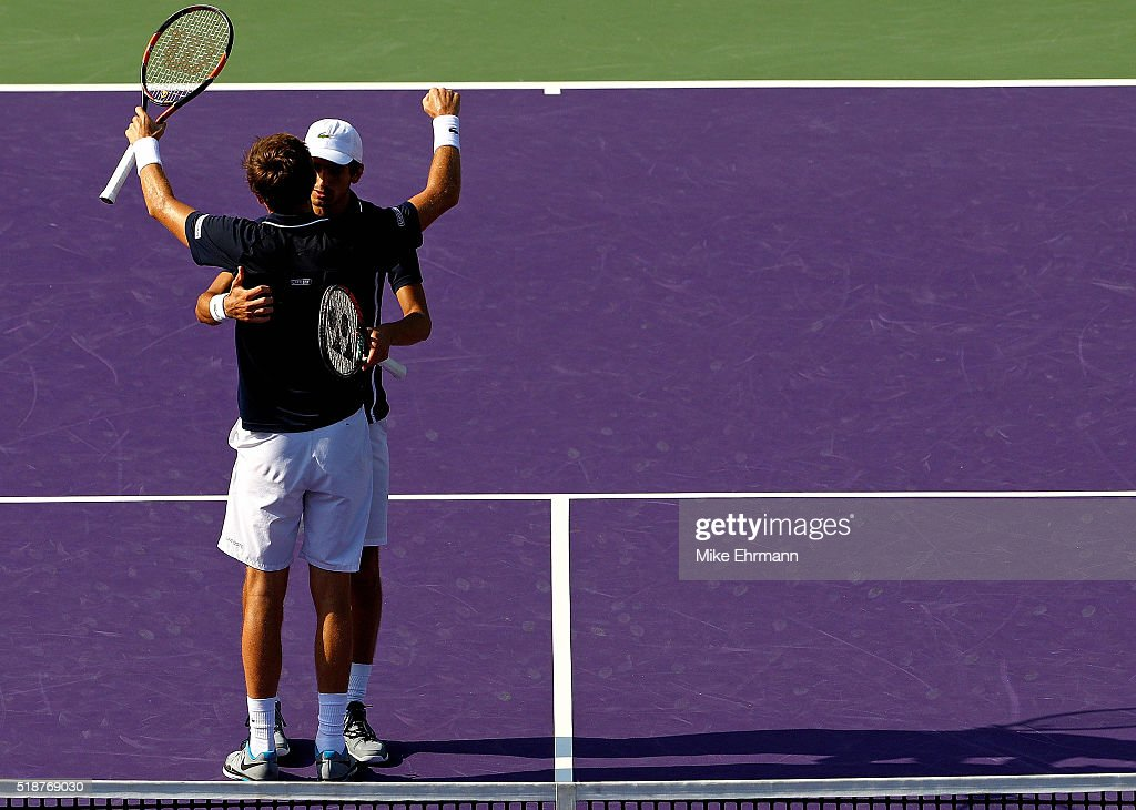 PierreHugues Herbert and Nicolas Mahut of France celebrate winning the Doubles Final against Raven Klaasen of South Africa and Rajeev Ram during Day...