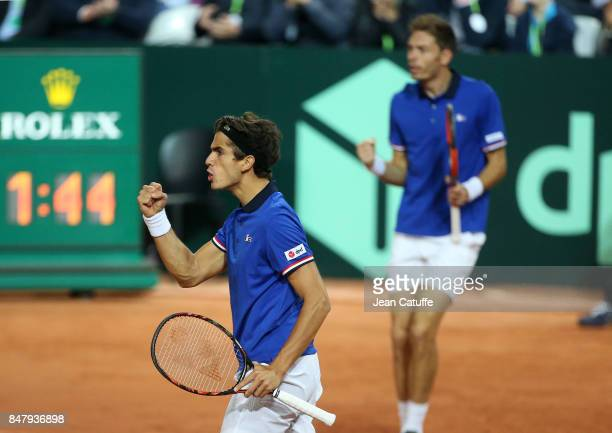 PierreHugues Herbert and Nicolas Mahut of France during the doubles match against Serbia on day two of the Davis Cup World Group tie between France...