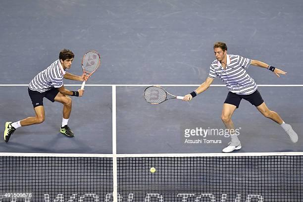 PierreHugues Herbert of France and Nicolas Mahut of France compete against Austin Krajicek of USA and Yasutaka Uchiyama of Japan during the men's...