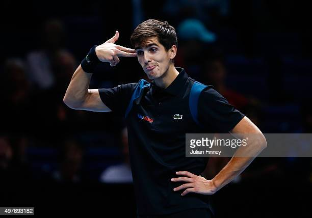 PierreHugues Herbert of France celebrates victory partnering Nicolas Mahut of France in their men's doubles match against Marcin Matkowski of Poland...