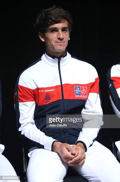 PierreHugues Herbert of France during the draw of the Davis Cup World Group semifinal between France and Serbia at Stade Pierre Mauroy on September...