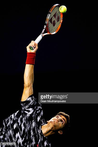 PierreHugues Herbert of France in action against Adrian Mannarino of France during day 1 of the BNP Paribas Masters held at the at Palais Omnisports...