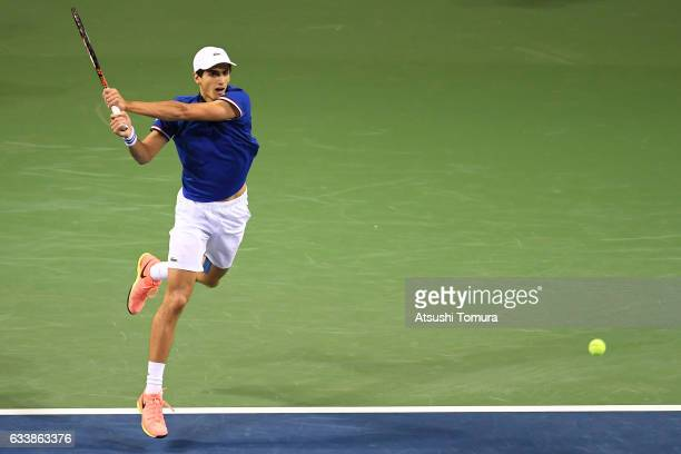 PierreHugues Herbert of France plays a backhand in his match against Yasutaka Uchiyama of Japan during the Davis Cup by BNP Paribas first round...