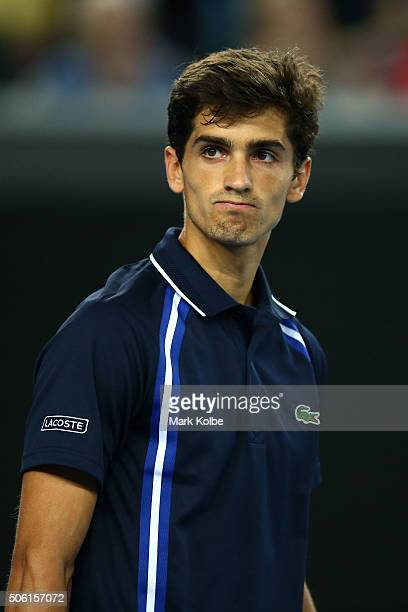PierreHugues Herbert of France reacts in his third round match against JoWilfried Tsonga of France during day five of the 2016 Australian Open at...