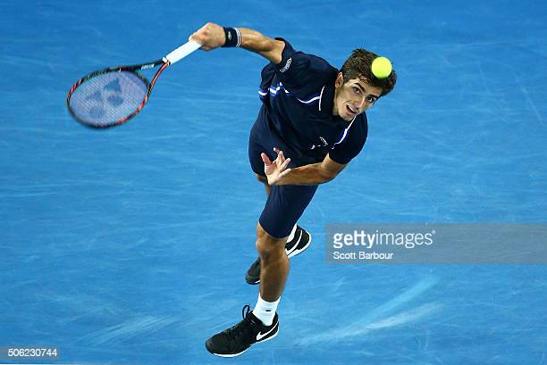 PierreHugues Herbert of France serves in his third round match against JoWilfred Tsonga of France during day five of the 2016 Australian Open at...