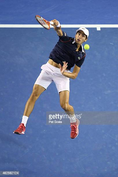 PierreHugues Herbert of France serves in their final doubles match with Nicolas Mahut of France against Simone Bolelli of Italy and Fabio Fognini of...