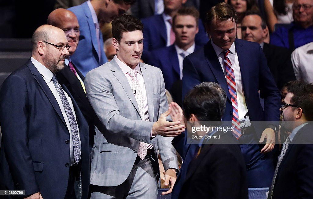 Pierre-Luc Dubois celebrates after being selected third overall by the Columbus Blue Jackets during round one of the 2016 NHL Draft on June 24, 2016 in Buffalo, New York.