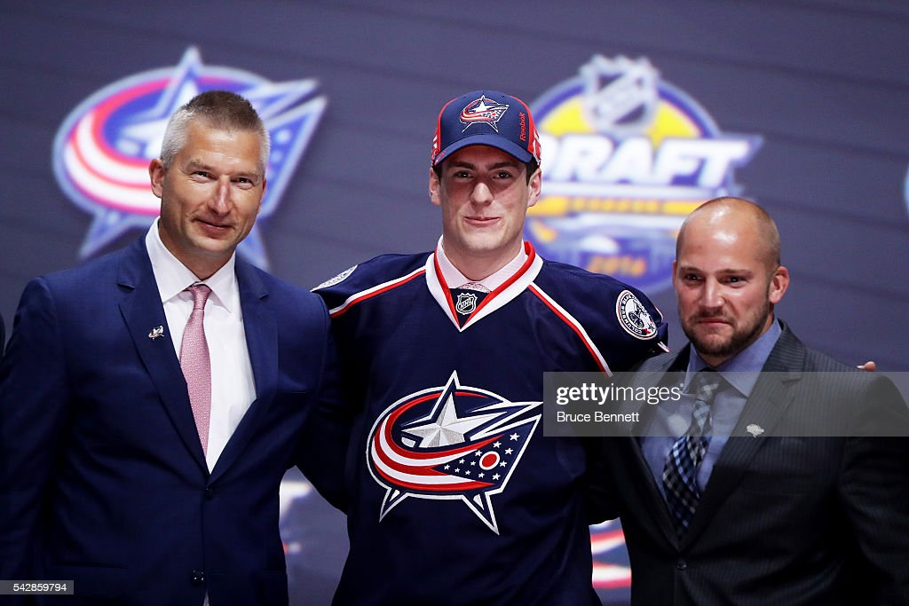<a gi-track='captionPersonalityLinkClicked' href=/galleries/search?phrase=Pierre-Luc+Dubois&family=editorial&specificpeople=13636609 ng-click='$event.stopPropagation()'>Pierre-Luc Dubois</a> celebrates with the Columbus Blue Jackets after being selected third overall during round one of the 2016 NHL Draft on June 24, 2016 in Buffalo, New York.