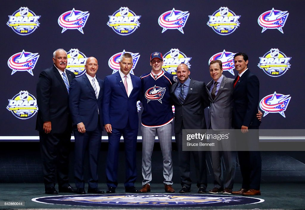 Pierre-Luc Dubois celebrates with the Columbus Blue Jackets after being selected third overall during round one of the 2016 NHL Draft on June 24, 2016 in Buffalo, New York.