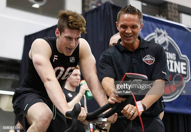 PierreLuc Dubois does the Wingate test on a bike during the NHL Combine at HarborCenter on June 4 2016 in Buffalo New York