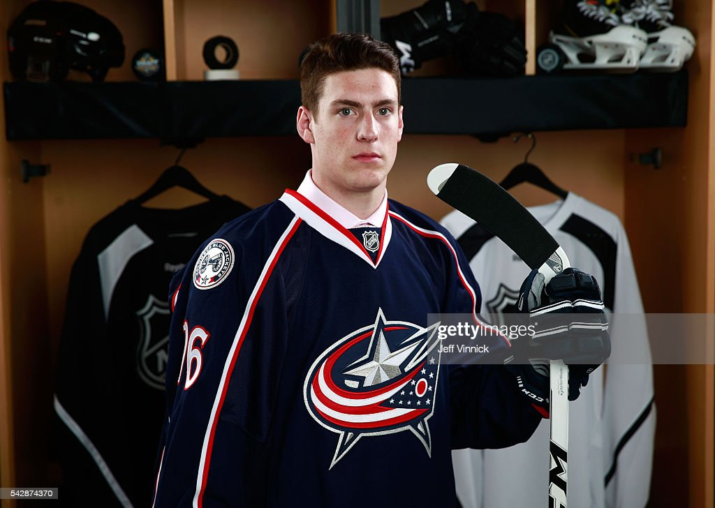 Pierre-Luc Dubois, selected third overall by the Columbus Blue Jackets, poses for a portrait during round one of the 2016 NHL Draft at First Niagara Center on June 24, 2016 in Buffalo, New York.