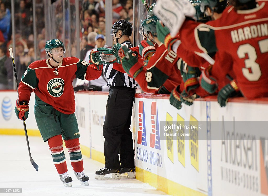 Pierre-Marc Bouchard #96 of the Minnesota Wild celebrates a goal against the Colorado Avalanche during the third period of the season opener on January 19, 2013 at Xcel Energy Center in St. Paul, Minnesota. The Wild defeated the Avalanche 4-2.