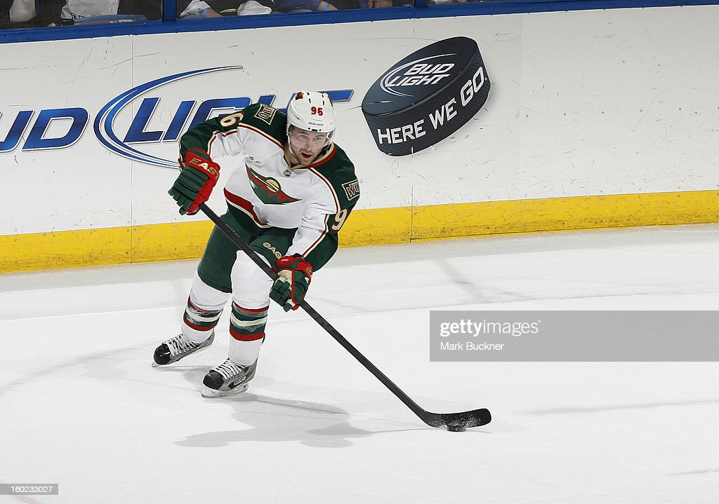 Pierre-Marc Bouchard #96 of the Minnesota Wild skates against the St. Louis Blues in an NHL game on January 27, 2013 at Scottrade Center in St. Louis, Missouri.