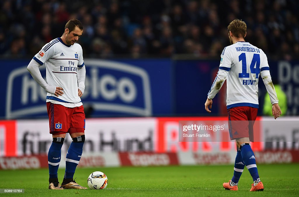 <a gi-track='captionPersonalityLinkClicked' href=/galleries/search?phrase=Pierre-Michel+Lasogga&family=editorial&specificpeople=7055737 ng-click='$event.stopPropagation()'>Pierre-Michel Lasogga</a> and Aaron hunt of Hamburg look dejected during the Bundesliga match between Hamburger SV and 1. FC Koeln at Volksparkstadion on February 7, 2016 in Hamburg, Germany.