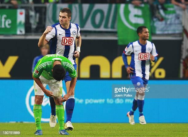 PierreMichel Lasogga of Berlin celebrates after scoring his team's third goal during the Bundesliga match between VfL Wolfsburg and Hertha BSC Berlin...