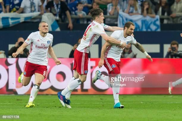 PierreMichel Lasogga of Hamburg celebrate a goal during to the Bundesliga match between FC Schalke 04 and Hamburger SV at VeltinsArena on May 13 2017...