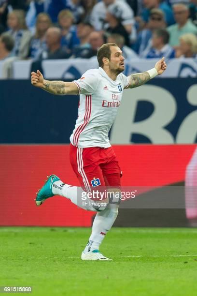 PierreMichel Lasogga of Hamburg celebrates after scoring his team`s first goal during to the Bundesliga match between FC Schalke 04 and Hamburger SV...