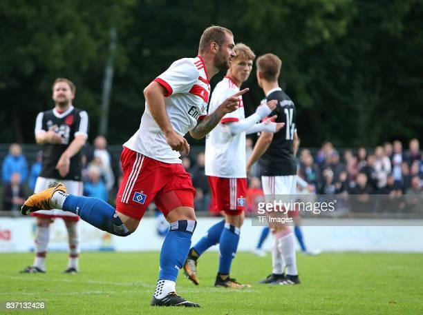 PierreMichel Lasogga of Hamburg celebrates after scoring his team`s goal during the preseason friendly match between Rotenburger SV and Hamburger SV...