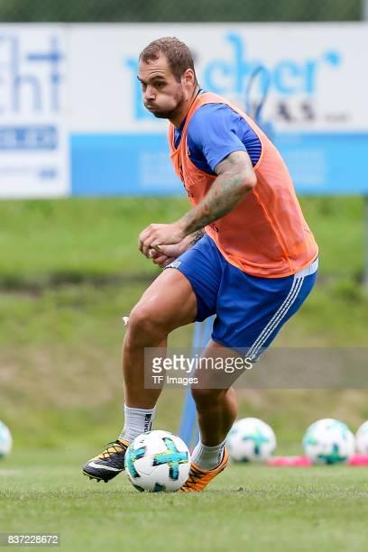 PierreMichel Lasogga of Hamburg controls the ball during the Training Camp of Hamburger SV on July 22 2017 in Laengenfeld Austria