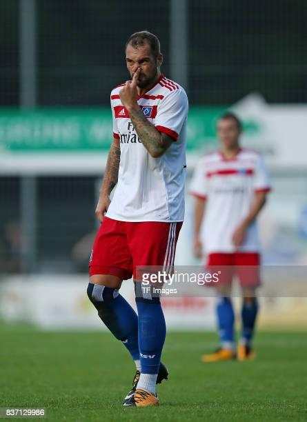 PierreMichel Lasogga of Hamburg gestures during the preseason friendly match between Rotenburger SV and Hamburger SV on July 12 2017 in Rotenburg...
