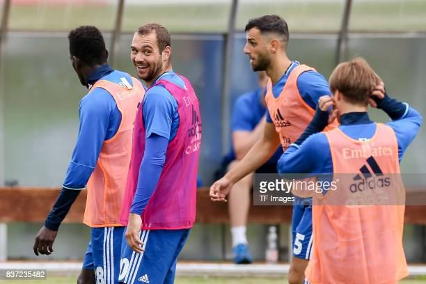 PierreMichel Lasogga of Hamburg laughs during the Training Camp of Hamburger SV on July 23 2017 in Laengenfeld Austria