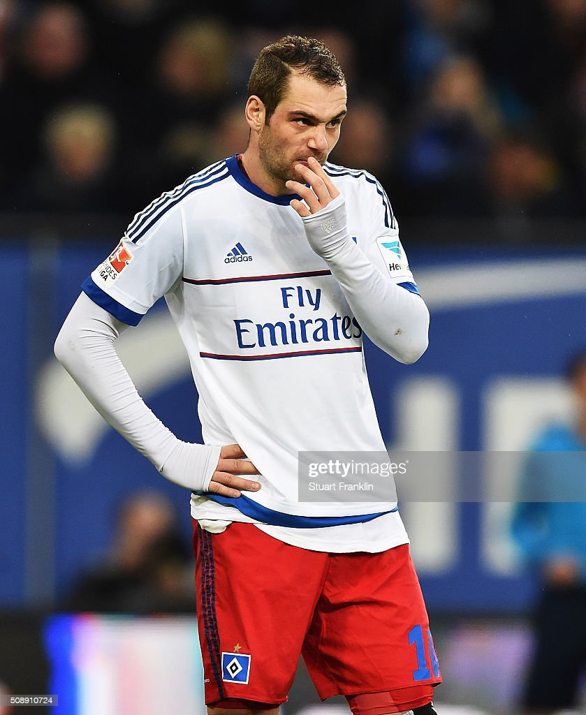 <a gi-track='captionPersonalityLinkClicked' href=/galleries/search?phrase=Pierre-Michel+Lasogga&family=editorial&specificpeople=7055737 ng-click='$event.stopPropagation()'>Pierre-Michel Lasogga</a> of Hamburg looks dejected during the Bundesliga match between Hamburger SV and 1. FC Koeln at Volksparkstadion on February 7, 2016 in Hamburg, Germany.