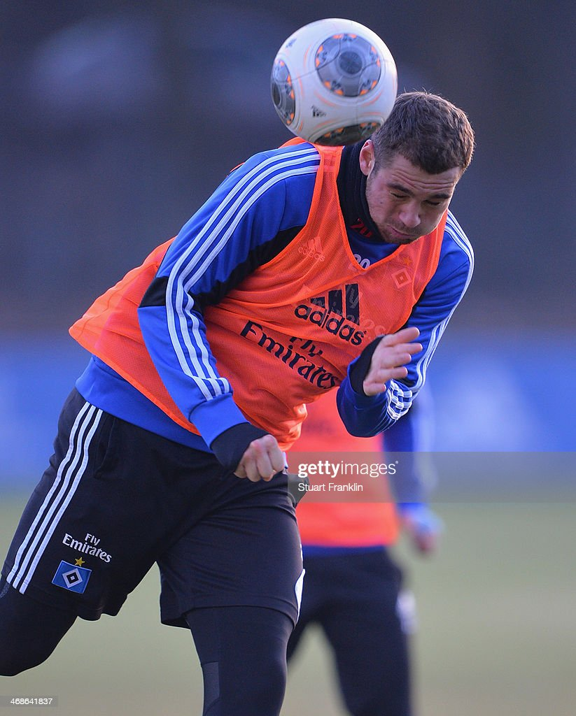 Pierre-Michel Lasogga of Hamburger SV in action during the training session of Hamburger SV on February 11, 2014 in Hamburg, Germany.