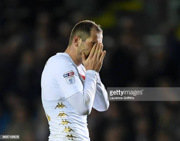 PierreMichel Lasogga of Leeds United reacts after a missed chance during the Sky Bet Championship match between Leeds United and Derby County at...