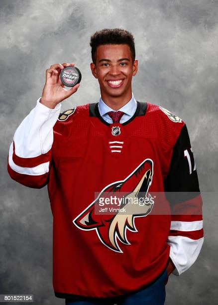 PierreOlivier Joseph 23rd overall pick of the Arizona Coyotes poses for a portrait during Round One of the 2017 NHL Draft at United Center on June 23...