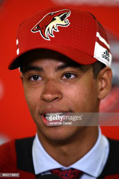 PierreOlivier Joseph is interviewed after being selected 23rd overall by the Arizona Coyotes during the 2017 NHL Draft at the United Center on June...
