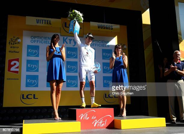 PierreRoger Latour of France and team AG2R La Mondiale in the White Jersey following stage four of Le Tour de France 2017 on July 4 2017 in Vittel...