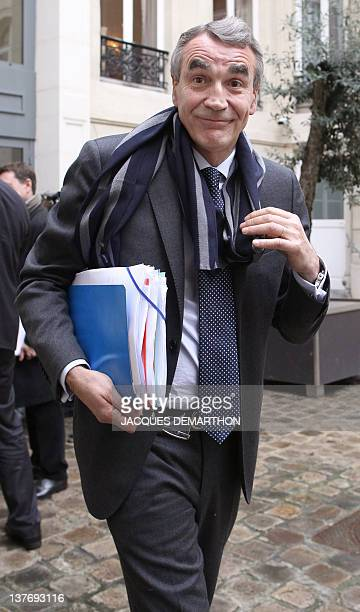 PierreYves Revol the chairman of the Ligue nationale de Rugby leaves after the hearing of Toulon rugby union club president Mourad Boudjellal before...