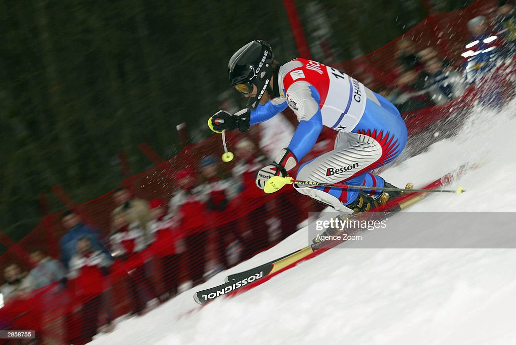 Pierrick Bourgeat of France on his way to second place during the Men's Slalom in the FIS Alpine Ski World Cup 2004 on January 11, 2003 in Chamonix, France.