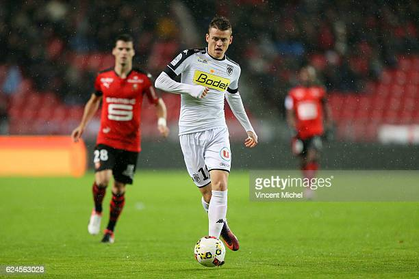 Pierrick Capelle of Angers during the Ligue 1 match between Stade Rennais and Sco Angers at Stade de la Route de Lorient on November 19 2016 in...