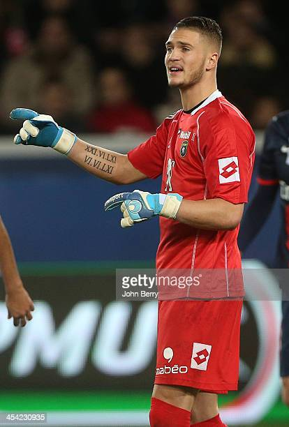 Pierrick Cros goalkeeper of Sochaux in action during the french Ligue 1 match between Paris SaintGermain FC and FC Sochaux Montbeliard at the Parc...
