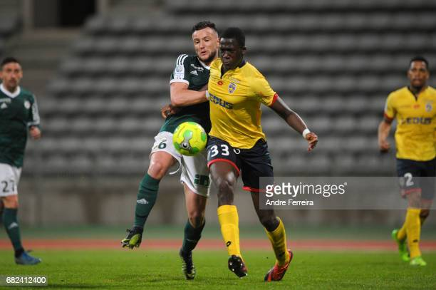 Pierrick Cros of Red Star and Ibrahima Konate of Sochaux during the Ligue 2 match between Red Star and FC Sochaux Montbeliard at Stade Charlety on...