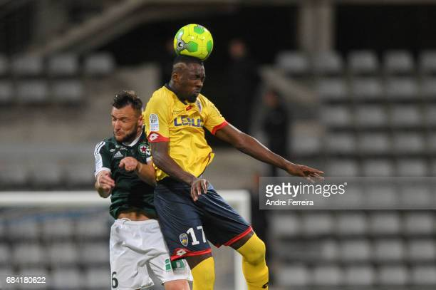 Pierrick Cros of Red Star and Marcus Thuram of Sochaux during the Ligue 2 match between Red Star and FC Sochaux Montbeliard at Stade Charlety on May...